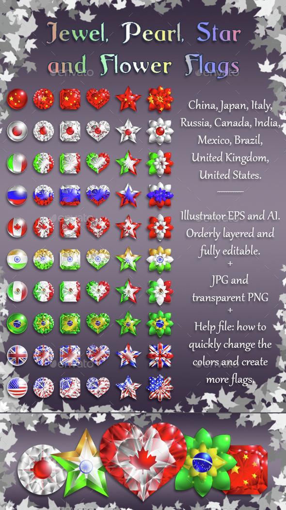 Jewel and Flower Flags - 10 Countries