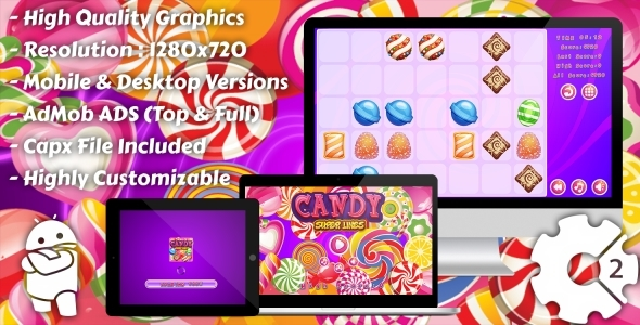 Candy Super Lines Match3 - HTML5 Game, Mobile Vesion+AdMob!!! (Construct-2 CAPX)