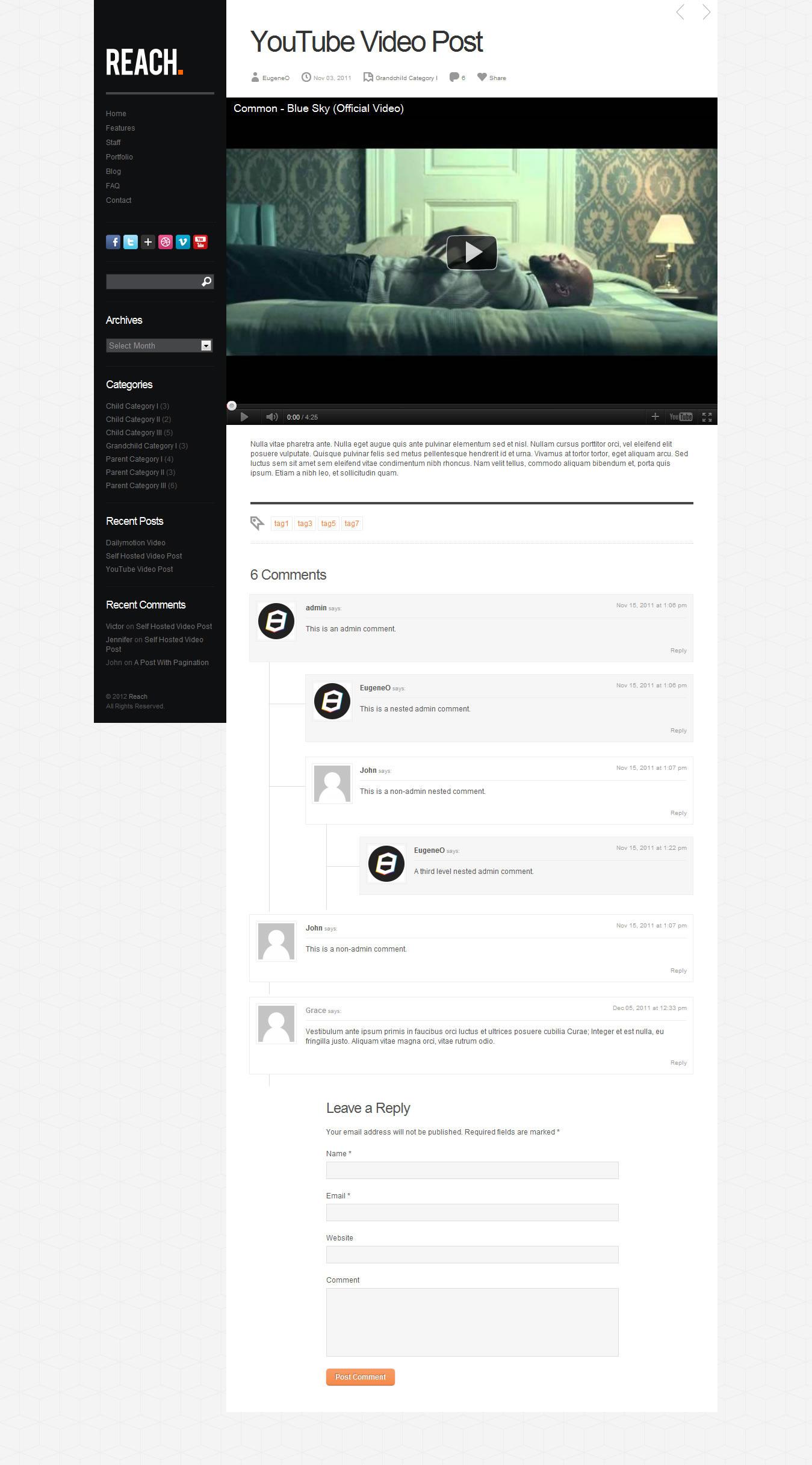 Reach - Business Portfolio WordPress Theme