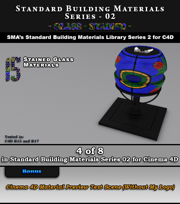 Standard Building Materials S02 - Glass - Stained for C4D - 3DOcean Item for Sale