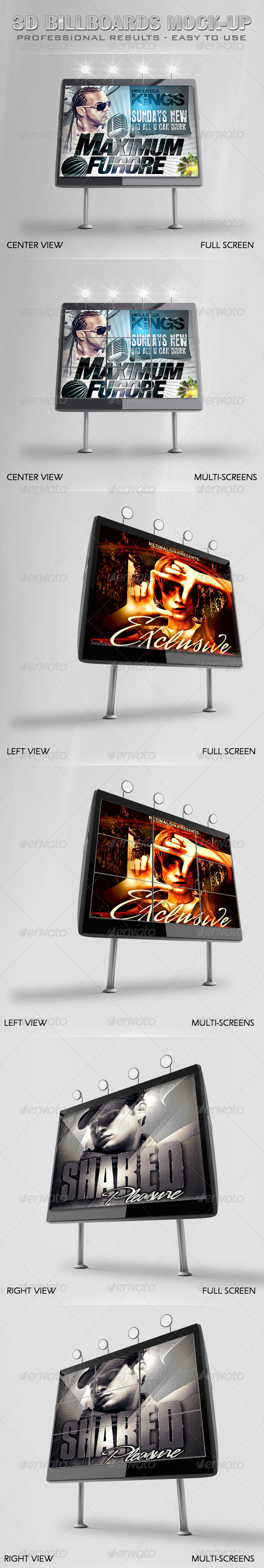 Professional 3D Billboards Mock-up - Signage Print