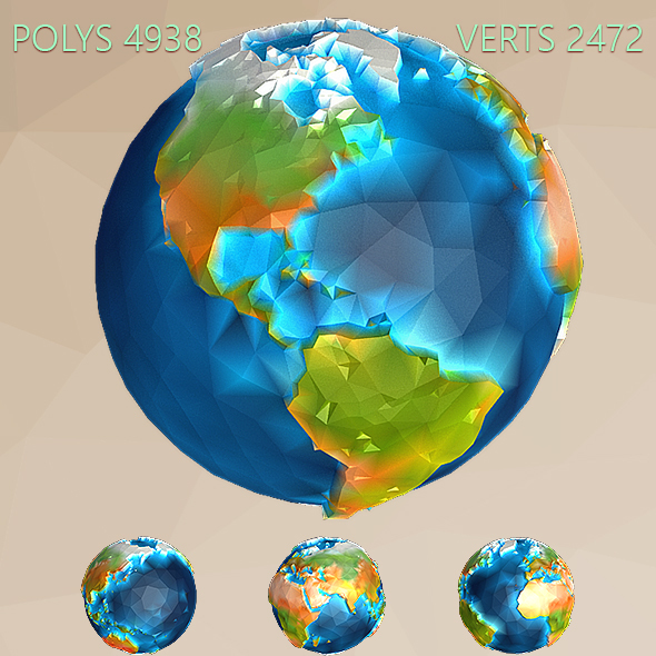 3DOcean Low Poly Earth 15348341