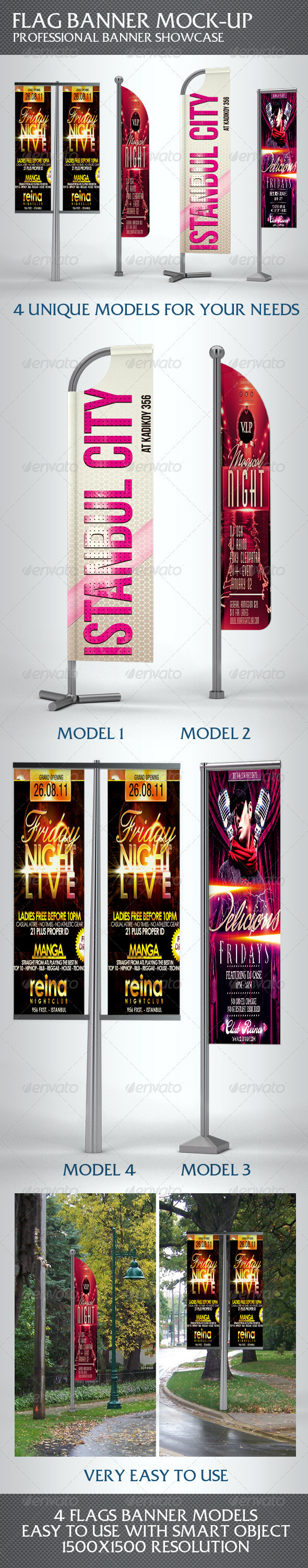 Professional Flag Banner Mock-up - Signage Print