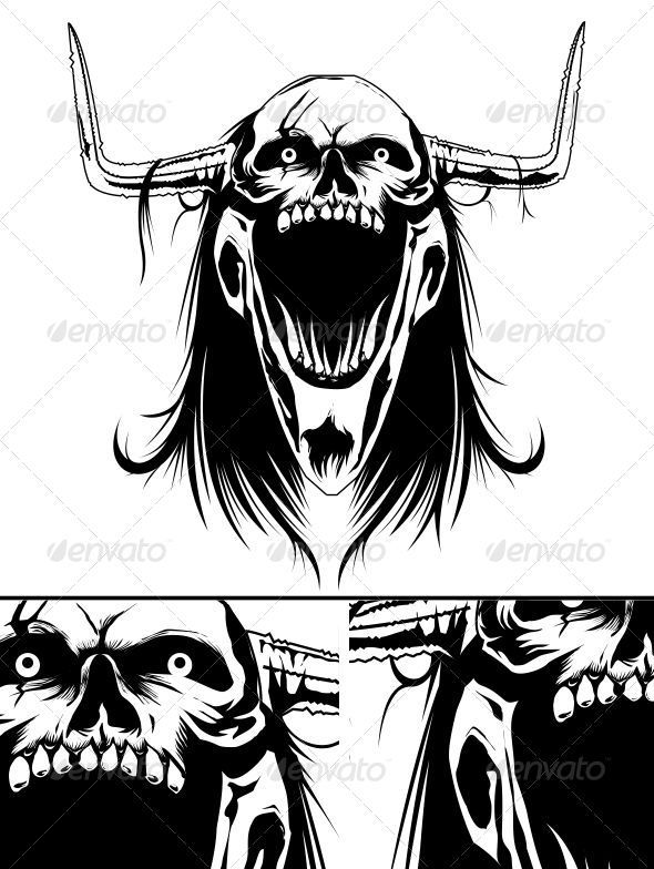 Demonic Skull - Tattoos Vectors