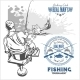 Marlin Fish in Waves on Retro Grunge Background