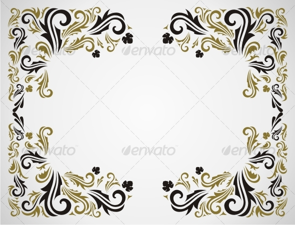 Seamless floral pattern with frame in gray and gold color. In zip you ...