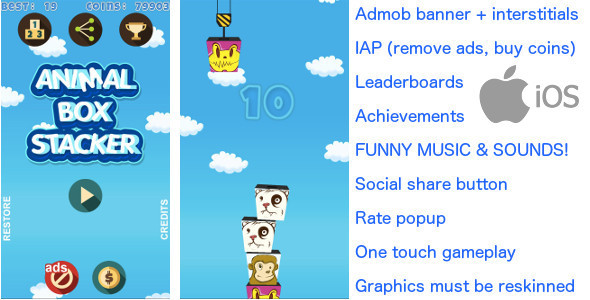 Tower Build iOS FUNNY! + Admob + IAP + more!! - CodeCanyon Item for Sale