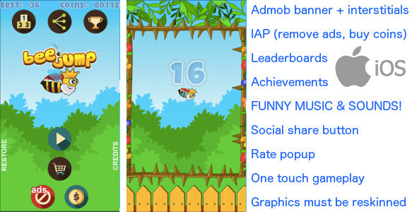 Bee Jump iOS + Admob banner & interstitial + In App Purchase - CodeCanyon Item for Sale
