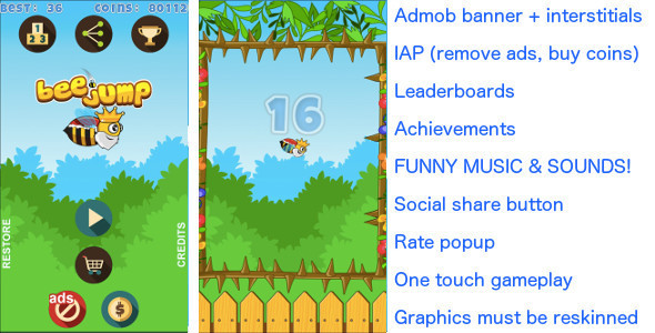 Bee Jump + Admob banner & interstitial + In App Purchase - CodeCanyon Item for Sale