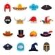 Funny Headwear Flat Icons Set