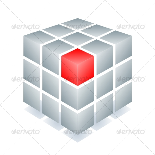 GraphicRiver Cube with one red block 60521