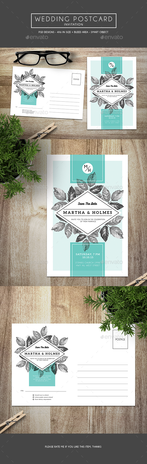 Wedding Postcard Invitation