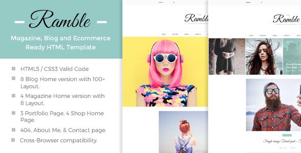 Ramble - Multi-Concept Blog, Magazine And Shop HTML Template