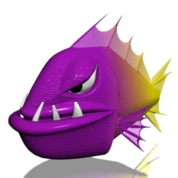 Cartoon Piranha - 3DOcean Item for Sale