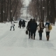 Group Of Students Going To School On a Winter Day