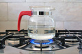 glass kettle on gas cooker