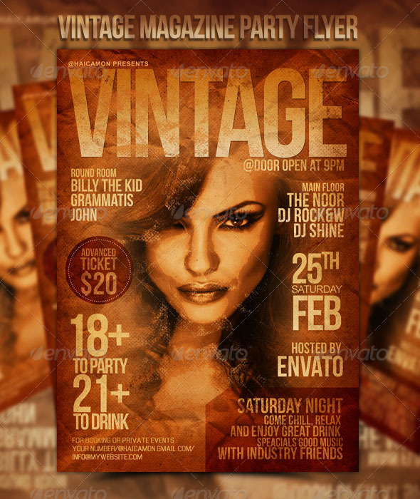Vintage Magazine Party Flyer - Clubs & Parties Events
