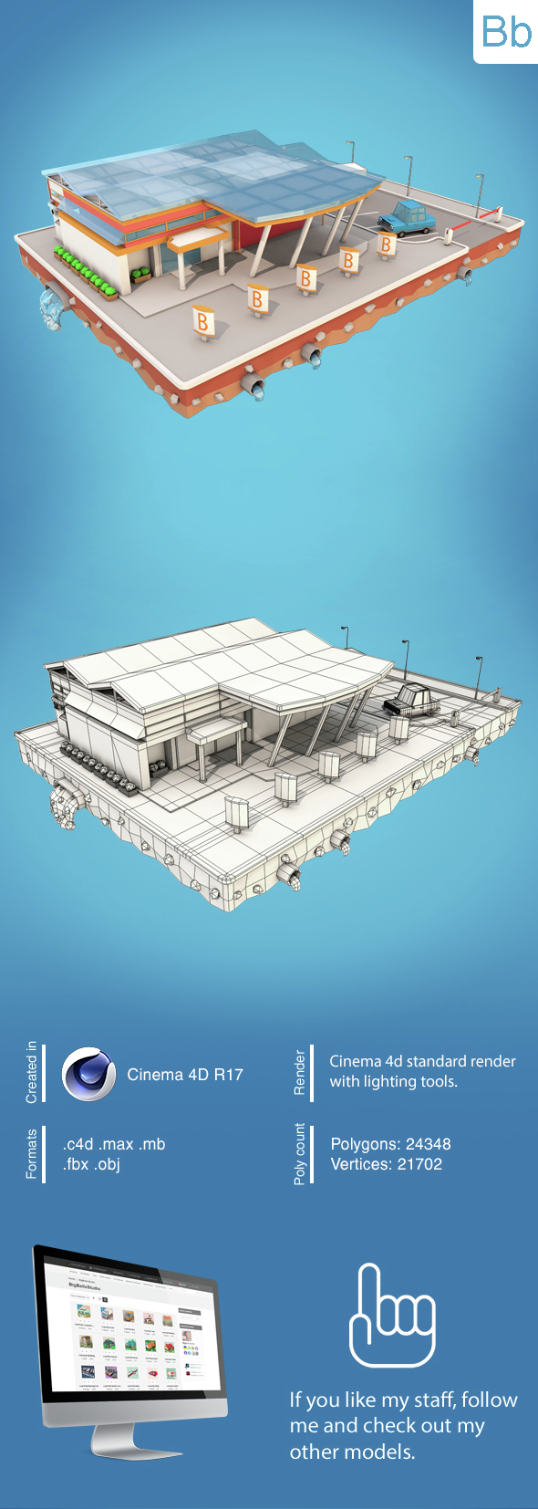 Low Poly City Block7 - 3DOcean Item for Sale
