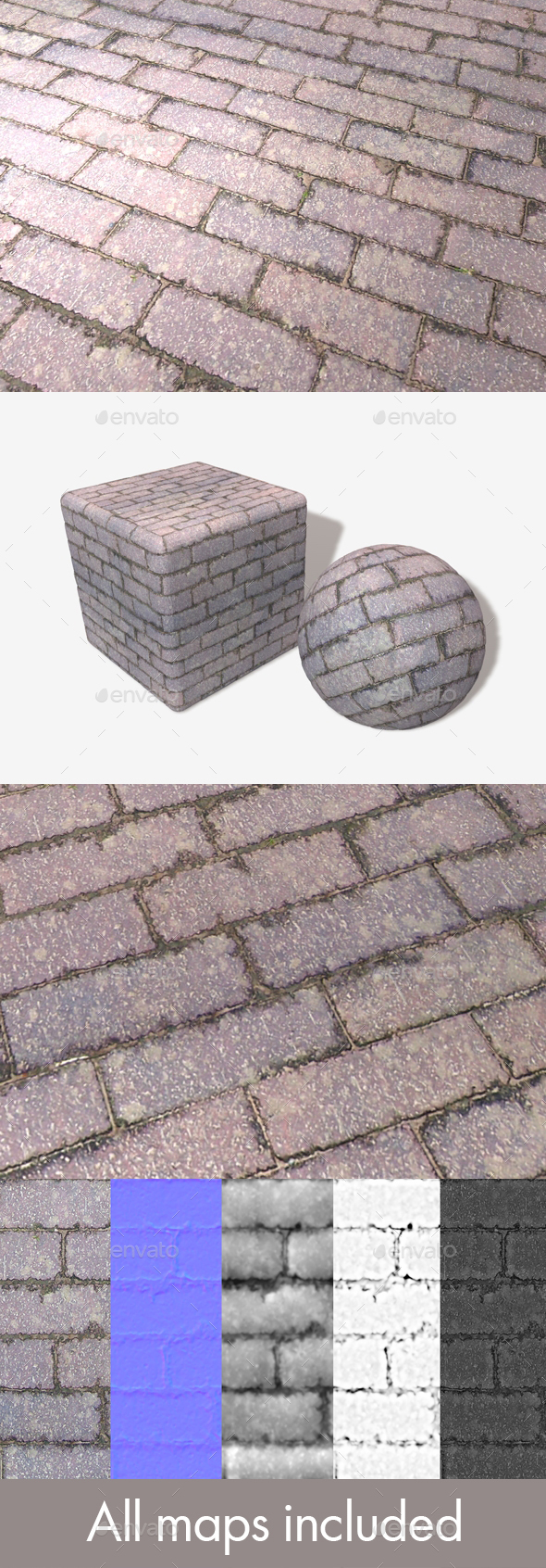Purple Brick Paving Seamless Texture - 3DOcean Item for Sale