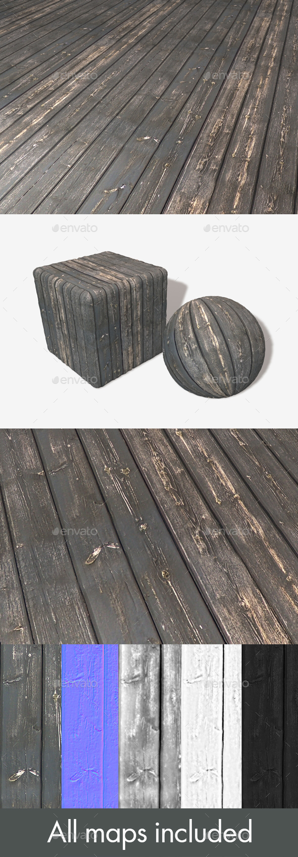 Stained Black Wood Seamless Texture - 3DOcean Item for Sale