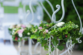 Decorations for the wedding ceremony. Flowers closeup