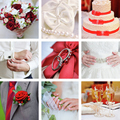 Wedding collage of photos red style