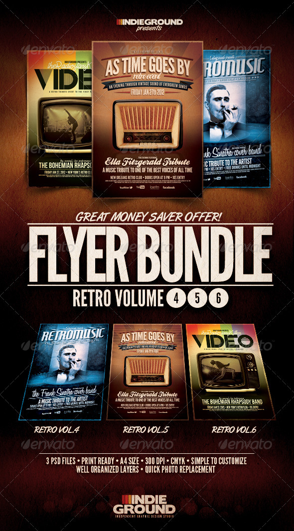 Retro Flyer/Poster Bundle Vol. 4-6 - Clubs & Parties Events