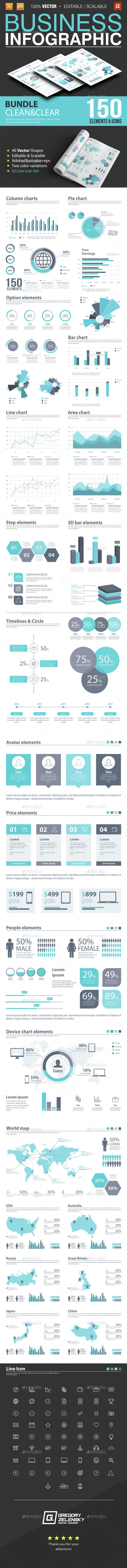 Business Infographic Bundle 150 Elements