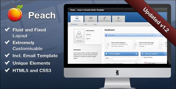 ThemeForest Peach Clean & Smooth Admin Template 780016