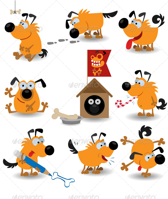 GraphicRiver Funny yellow dogs 1538168