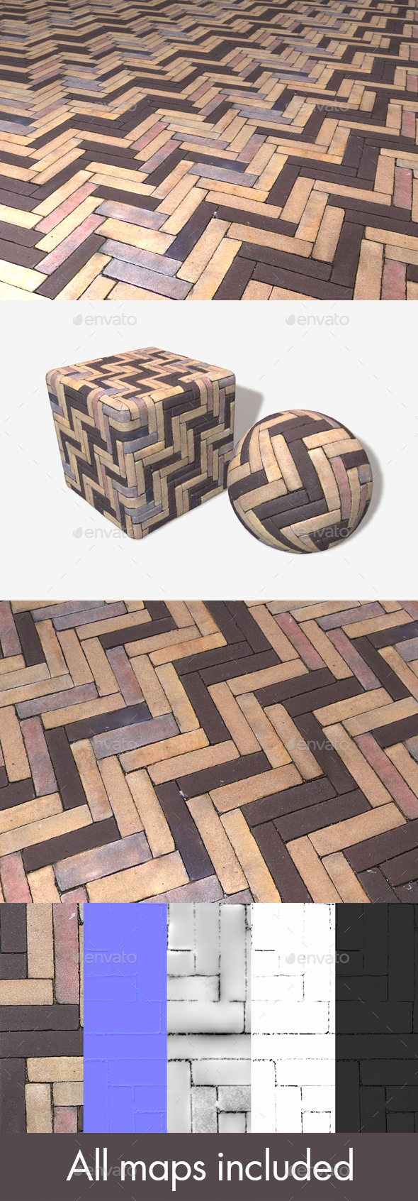 Zigzag Pavement Seamless Texture - 3DOcean Item for Sale