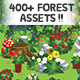 2D Cartoon Forest Trees & Plants