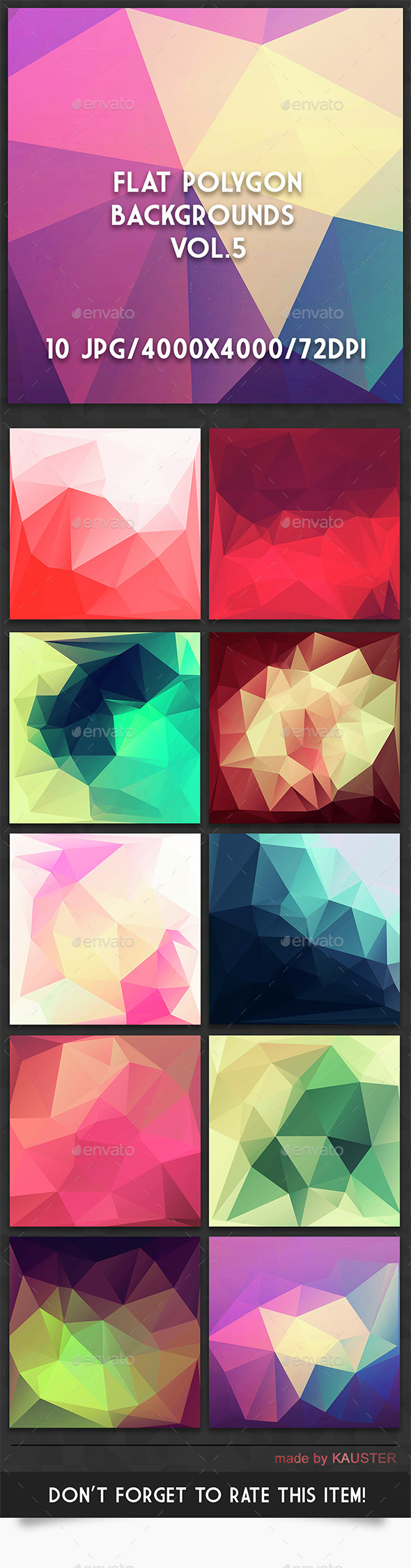 Flat Polygon Backgrounds Vol.5