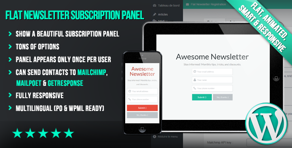 Download WP Flat Newsletter Subscription Panel nulled download
