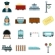 Railroad Flat Icons Set