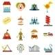 Amusement Park Flat Icons Set