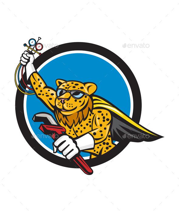 Refrigeration Mechanic Leopard Superhero Circle Cartoon