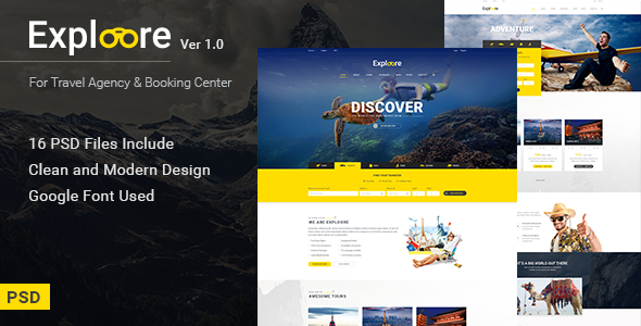 EXPLOORE - Travel, Exploration, Booking PSD Template