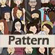 People Characters Seamless Pattern