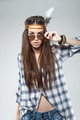 Fashion Portrait of Young Brunette Dressed in Hippie Style - PhotoDune Item for Sale