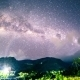 Milky Way Over The Mountains In The Tropics in Bali, Indonesia