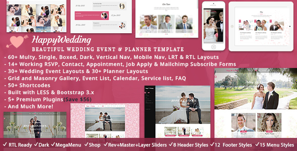 5. HappyWedding - Beautiful Wedding Event & Planner Responsive HTML5 Template