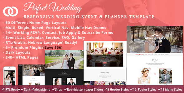 4. Perfect Wedding - Responsive Wedding Event & Planner Bootstrap Template