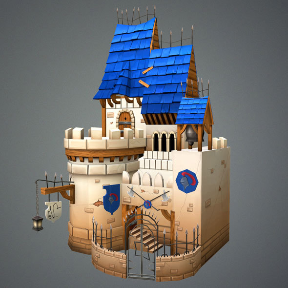 Low Poly Medieval Castle - 3DOcean Item for Sale