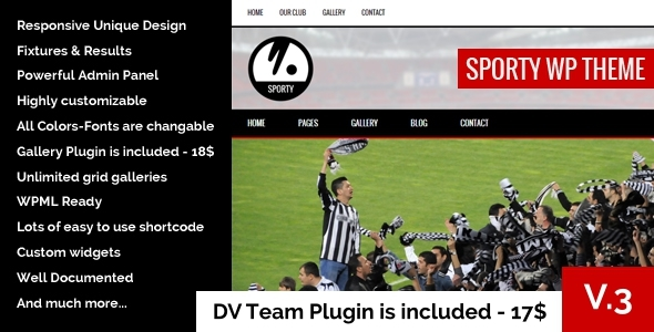 Download  SPORTY-Responsive WordPress Theme for Sport Clubs nulled download