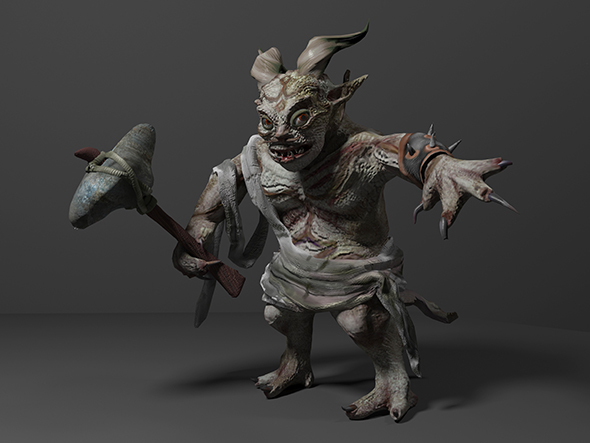 Fantasy troll with weapon - 3DOcean Item for Sale