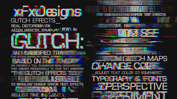 glitch text effects toolkit 30 title animation presets abstract