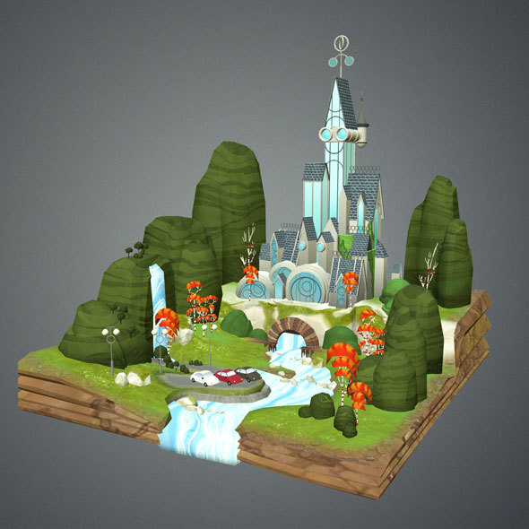 Low Poly Fantasy Castle - 3DOcean Item for Sale
