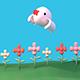 Cartoon Bird And Flower Garden