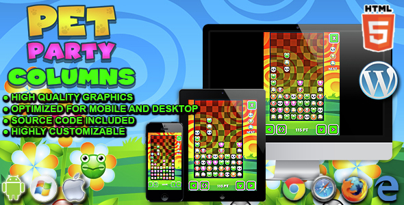 Download Pet Party Columns - HTML5 Matching Game nulled download